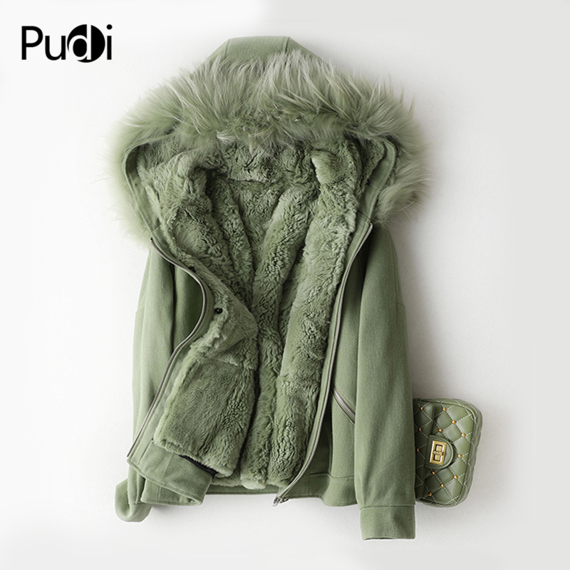 PUDI A59769 women winter cotton fabric overcoat real rex fur warm jacket fox fur collar girl coat lady Long jacket overcoat