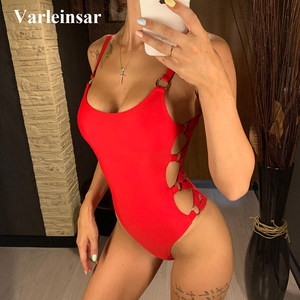 S-XL 2020 Sexy Black Red Hollow Cut Out Full Back Women Swimwear One Piece Swimsuit Female Bather Bathing Suit Swim Lady V649(China)