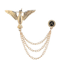 Vintage Brooches Chain Tassel Gold Eagle Brooch Broche Lapel Pins Wedding Dress Coat Collar Badge Men Suit Accessories brooches tassel chain vintage mixed fabric rose men suit collar brooch broche lapel pin brooches for women jewelry accessories