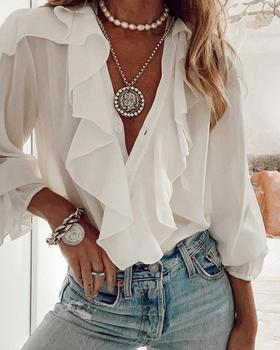 2020 Women Elegant Fashion Female Ruffled Top Casual Solid Button Long Sleeve Blouse V-Neck  Loose Fit Casual  Tops summer v neck long sleeve blouse women casual v neck solid color tops loose button blouse shirt