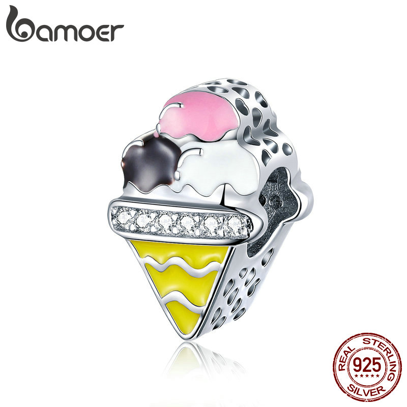 BAMOER Genuine 925 Sterling Silver Colorful Ice Cream Shape Beads Charms fit Fashion Bracelets Bangles Luxury Jewelry SCC1129