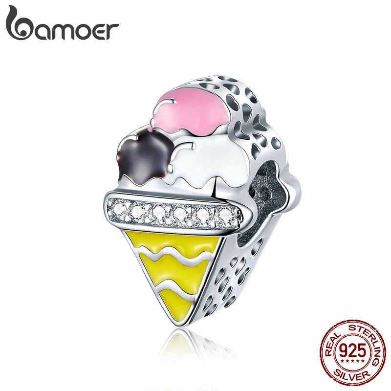 BAMOER oryginalna 925 Sterling Silver kolorowe w kształcie lodów wisiorki z koralikami fit modne bransoletki bransoletki luksusowe biżuteria SCC1129