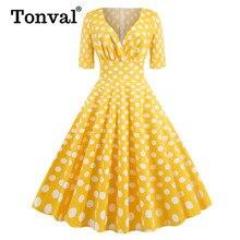 Tonval Retro Style High Waist Sexy V-Neck Wrap Polka Dot Dresses Women Spring Yellow Midi Elegant Party Cotton Vintage Dress