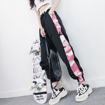 2020 Summer Sports Pants Women's Harem Pants Harajuku Streetwear Nine Pants Korean Version The Loose Thin Section Casual Pants 2019 summer big code harem pants skinny students thin sports pants female loose white side nine points casual women pants