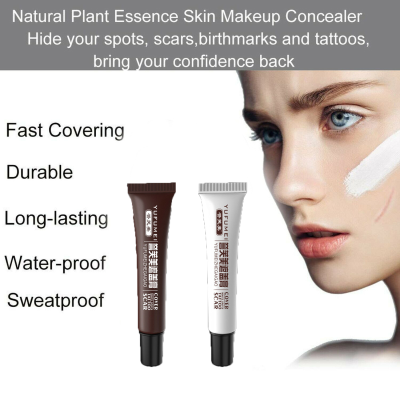 Skin Cover Up Concealer For Tattoo Scar Birthmark Hiding Spots Professional Lasting Waterproof Sweatproof Body Covering Cream