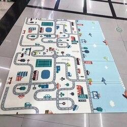 Двусторонний детский игровой коврик 200*150*0,5 см, двусторонний Коврик для ползания, складной водонепроницаемый переносной мягкий напольный к...