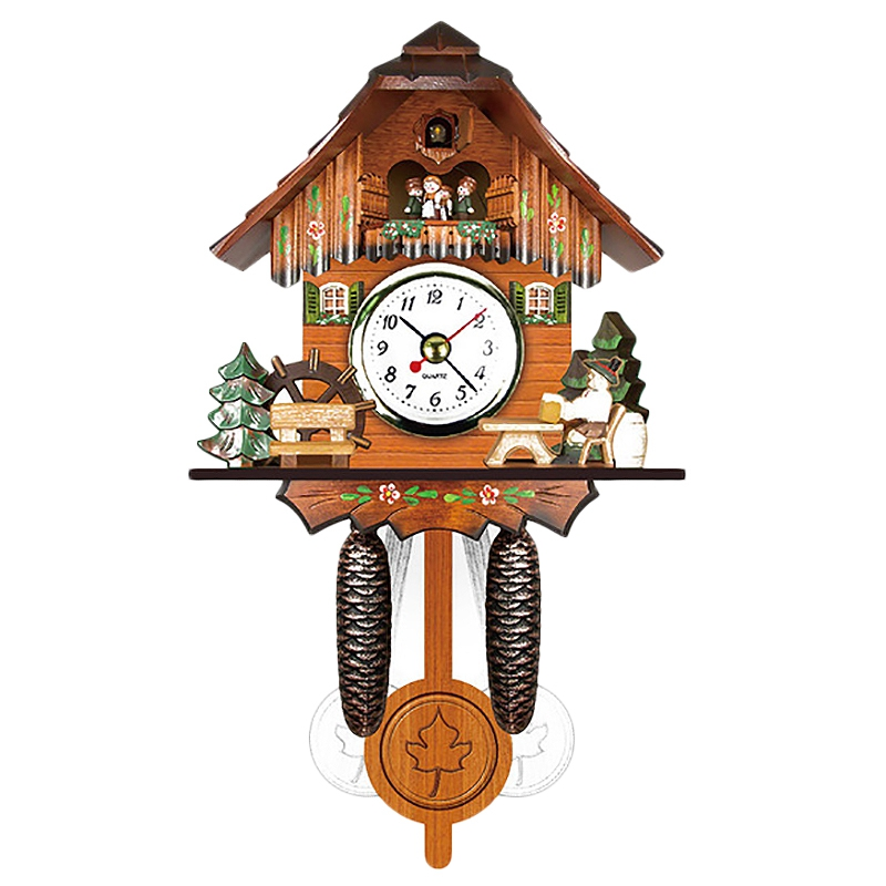 Antique Wooden Cuckoo Wall Clock Bird Time Bell Swing Alarm Watch Home Art Decor