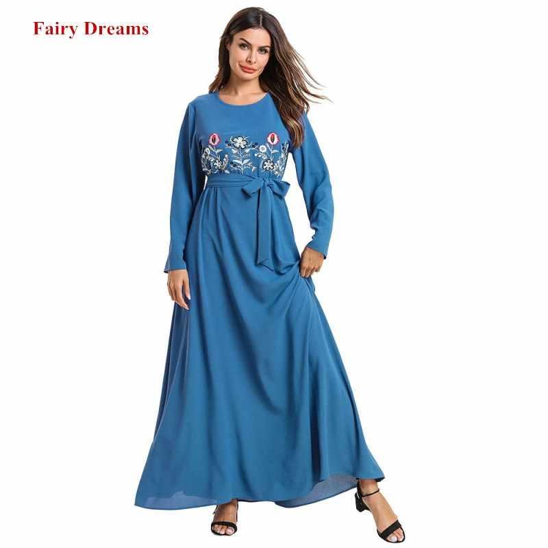 여자 이슬람교 Abaya 터키 방글라데시 이슬람교 옷 4XL 플러스 크기 Kaftan 두바이 Caftan 자수 파란 가운 붕대 Maxi 복장