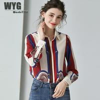 High Quality Pure Silk Blouses and Shirts 2020 Spring New Arrival Baroque Style Saudi Arabia Fashion Blogger Long Sleeve Tops