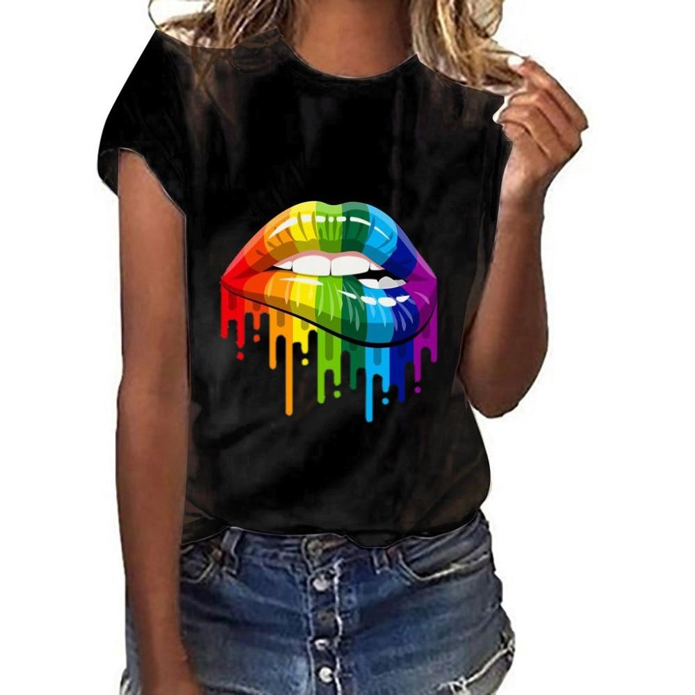Nueva-Camiseta-con-estampado-de-labios-encantadores-Camiseta-100-de-algod-n-con-cuello-redondo-de