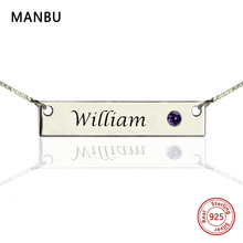 Custom Name Bar Necklace Personalized Engraved Name plate with Birthstone Hand Stamped Initial Pendant Necklace fashion Jewelry цена и фото