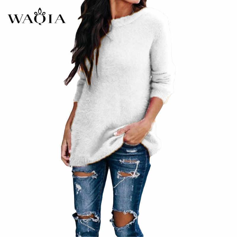 Suéter de punto Casual para mujer ropa de calle cuello redondo manga larga pulóveres suelto sólido abrigo 2019 Otoño Invierno moda mujer suéter