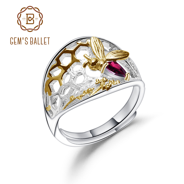GEMS บัลเล่ต์ 925 เงินสเตอร์ลิง Golden Honeycomb แหวน 0.28Ct Rhodolite NATURAL GARNET Handmade แหวนสำหรับเครื่องประดับ