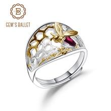 GEMS BALLET 925 Sterling Silver Golden Honeycomb Ring 0.28Ct Natural Rhodolite Garnet Handmade Ring For Women Fine Jewelry