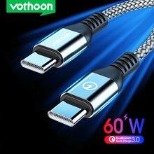 Vothoon USB C zu USB Typ C Kabel Für Samsung Hinweis 20 Xiaomi Quick Charge 4,0 PD 60W Schnelle lade für MacBook Pro Ladung Kabel
