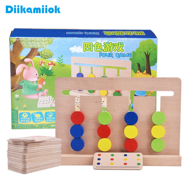 New Wooden Baby Toy Montessori Four Colors Match Game Children Early Childhood Preschool Educational Training Learning Toys