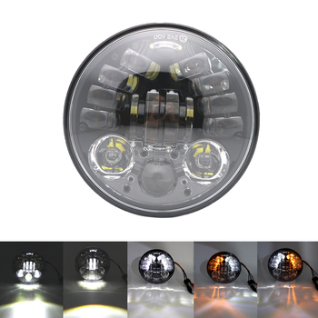 """70W5.75 inch LED headlight and high low beam motorcycle 5 3/4"""" white DRL yellow turn signal."""