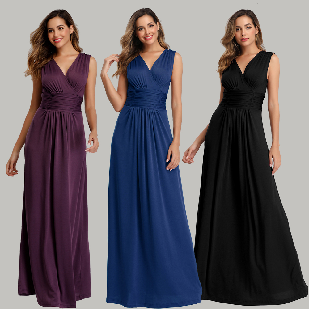 Soft Stretching comfort Diamonds Cotton-Fabric V-neck Sleeveless Open Back Pleated  Cocktail Dress Pure Color Formal Party Gowns