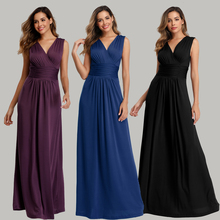 Soft Stretching comfort Diamonds Cotton Fabric V neck Sleeveless Open Back Pleated  Cocktail Dress Pure Color Formal Party Gowns