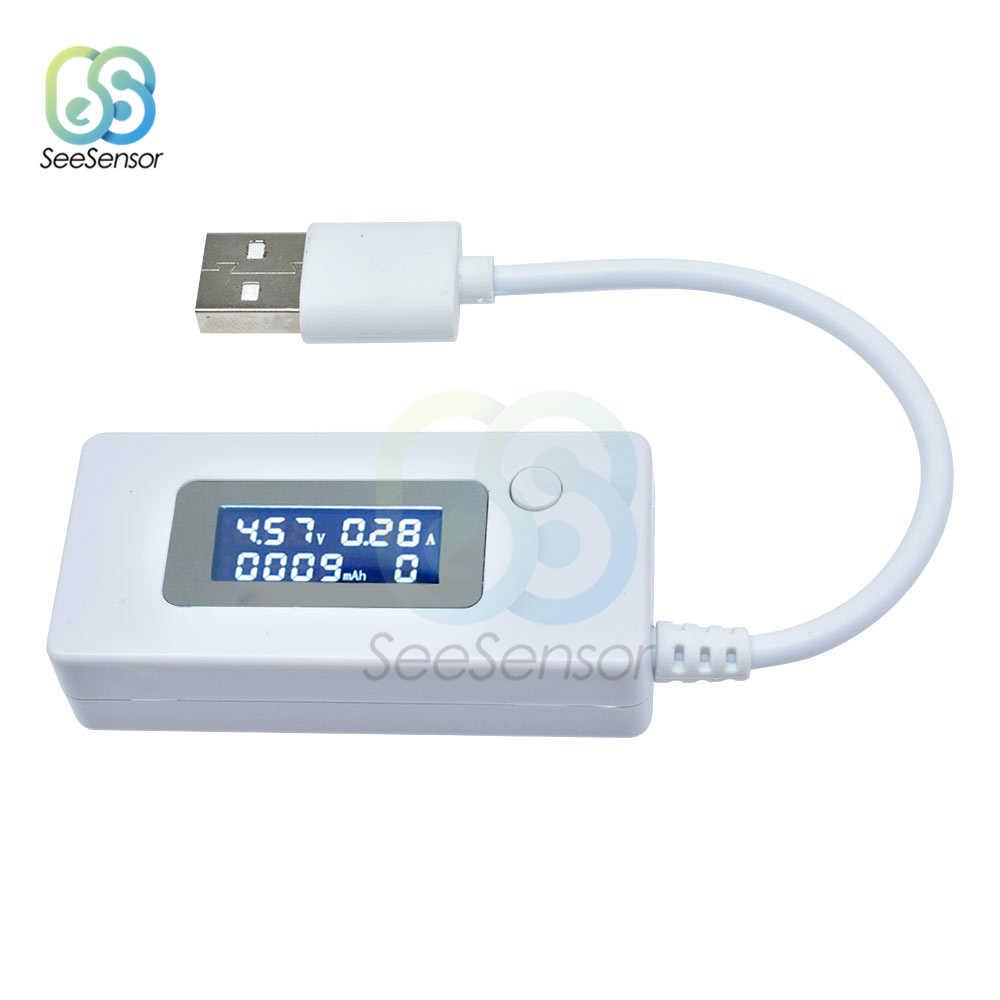 جهاز قياس الفولتميتر بشاشة LCD مع منفذ USB مقياس قدرة شاحن متنقل جهاز اختبار السعة مقياس الجهد الحالي جهاز مراقبة الشحن تيار مستمر 4-30 فولت