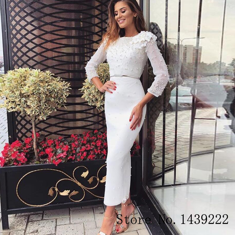 White Pearls Girl Evening Gowns Prom Dress Flowers Formal Celebrity Dresses Robe De Soiree Evening Dress