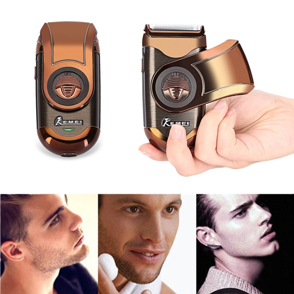 Kemei Portable  Shaver 3D Double Floating Rechargeable Beard Trimmer Razor Reciprocating Shaver For Men Face Care Tool