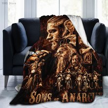 Sons of Anarchy 3D Cartoon Sherpa Blanket Warm Super Soft Flannel Office Nap Bedspread Sofa Bedding Plush Quilt Plaids A1