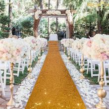 Runner Wedding-Aisle for Wedding-Ceremony-Decorations Carpet Sequin 4FTX Gold 10FT