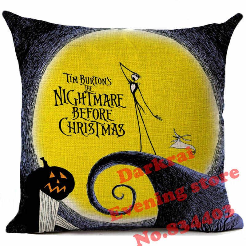 Halloween Kartun Tengkorak Jack Bantal Cover Mimpi Buruk Sebelum Natal Dekorasi Bantal Mobil Sofa Home Dekoratif Bantal Case