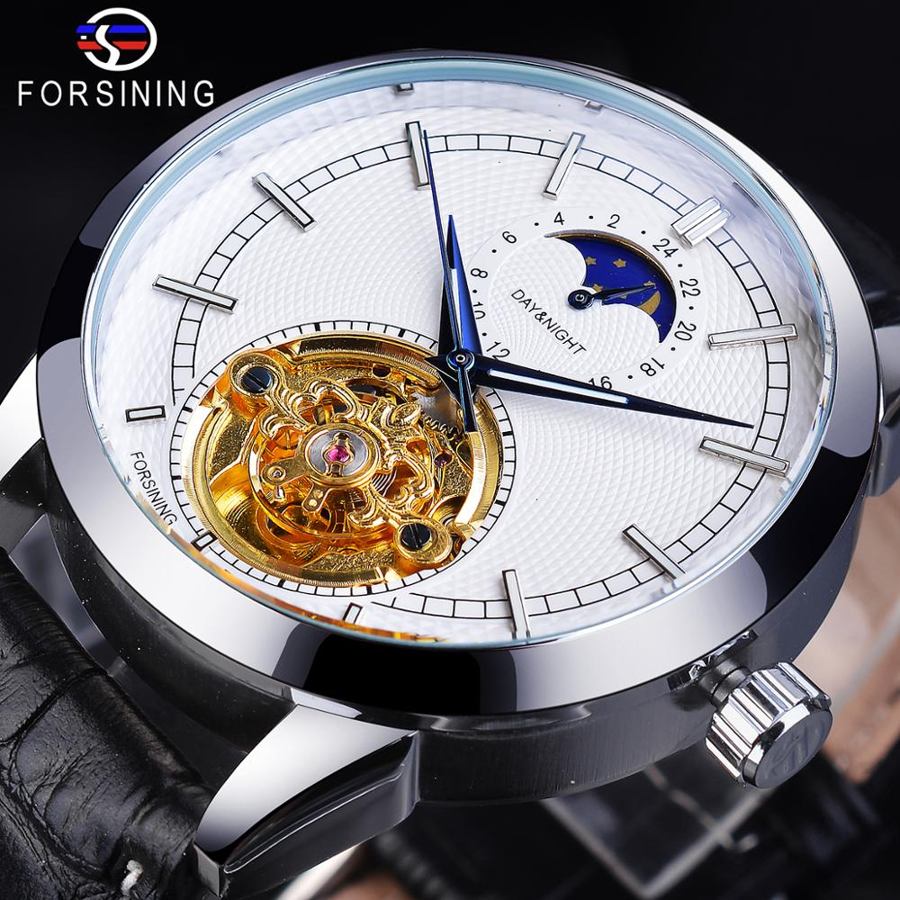 Forsining Fashion Mens Watches New Arrival Genuine Leather Strap Tourbillon Moon Phase Waterproof Automatic Mechanical Man Clock