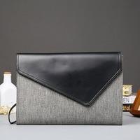 Japanese and Korean Gray Flipped Handbag Business Document Bag Leisure iPad Single Shoulder Trendy Men's Bags