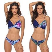 Sexy 2020 Bikini Set Swimwear Women Leopard Swimsuit Push Up Bikini Plus Size Bathing Suit Halter Summer Beachwear Biquini 3XL стоимость