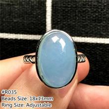 Anillo de Aguamarina de OCéANO AZUL Natural auténtica para mujer, óvalo de cristal, cuentas de piedras preciosas, anillo de tamaño ajustable a la moda AAAAA