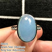 Genuine Natural Ocean Blue Aquamarine Ring Jewelry For Woman Man Crystal Oval Beads Gemstone Fashion Adjustable Size Ring AAAAA
