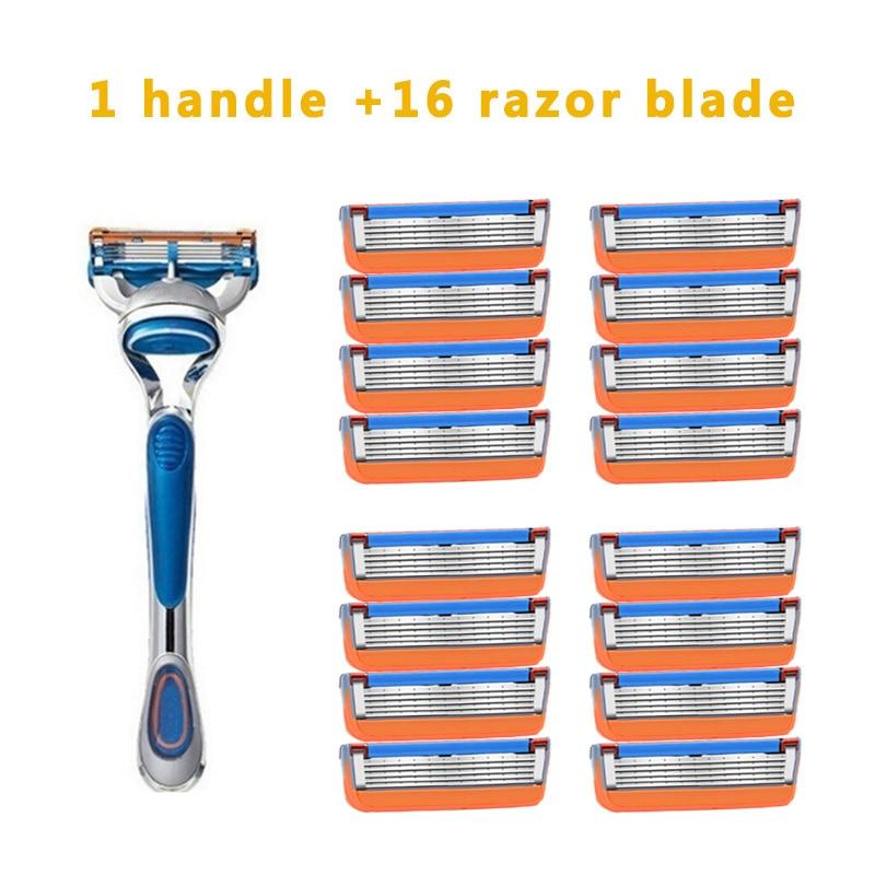 Safety Razor Blades Men's Shaver Razor Blades 5 Layer  For Face Care Compatible With Gillettee Fusione Razor 1Holder 8pcs 16pcs