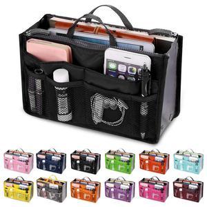 Organizer Insert Bag Women Nylon Travel Insert Organizer Handbag Purse Large liner Lady Makeup Cosmetic Bag Cheap Female Tote(China)