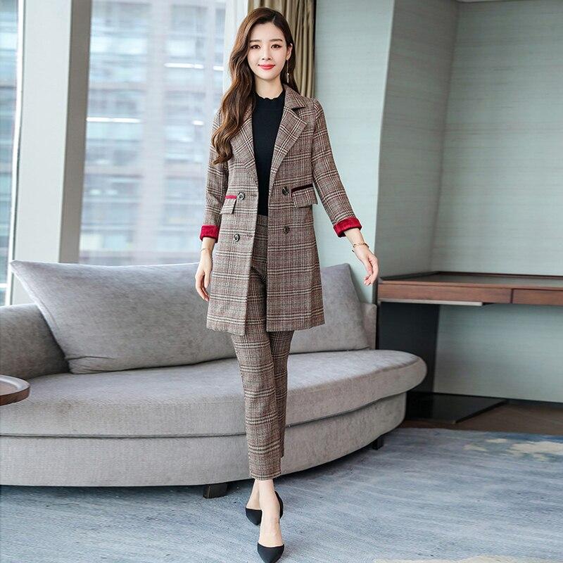 Plaid Long Women's Suits Pants Suit Large Size M-XL 2019 Autumn New Fashion Jacket Blazer Female Office Pants Set Two-piece