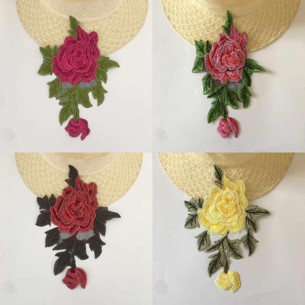 3D çiçek nakış dantel kumaşlar Polyester danteller yaka DIY dikiş dantel ve süslemeler el sanatları malzeme aksesuarları 1 adet satış