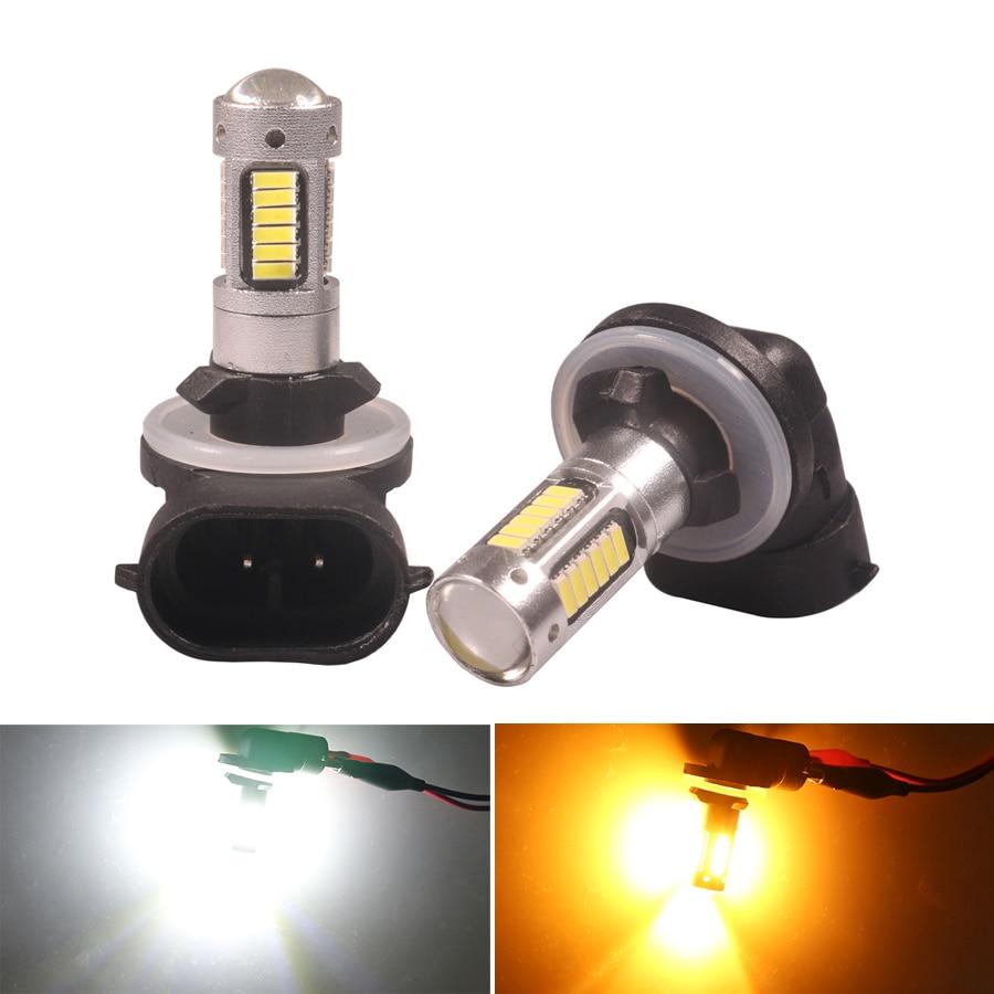 NHAUTP 2 шт. H27 H27W/2 880 881 светодиодный противотуманный фонарь для автомобиля 4014 -30SMD светодиодный передний противотуманный фонарь DRL Белый Янтарн...
