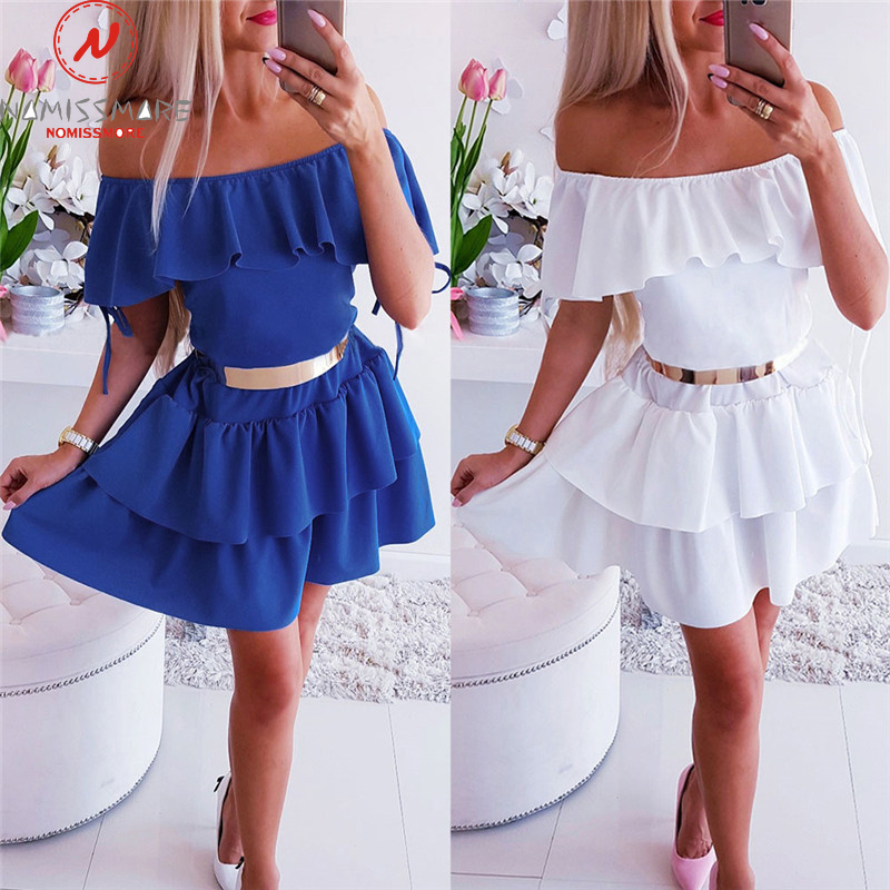 Sexy Women A-Line Dress For Streetwear Patchwork Design Ruffles Decor Off Shoulder Short Sleeve Solid Lady Summer Slim Dress
