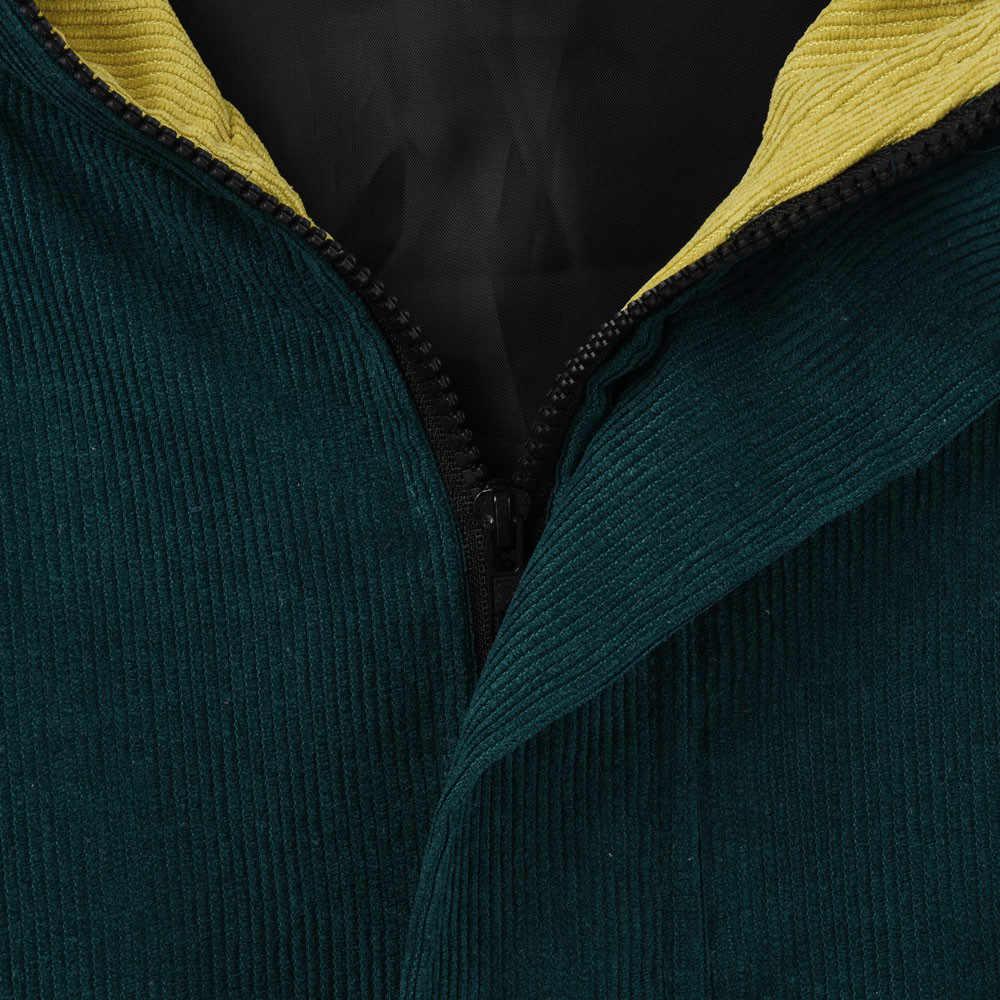 35# Women Corduroy Coat Long Sleeve jackets Oversize Jacket Color Block Hoodie Overcoat Harajuku Style  Winter Warm Outwear Coat