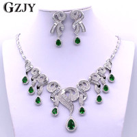 GZJY Bridal Dress Accessories Jewelry Sets White Gold Color AAA Zircon Necklace Earring Jewelry sets For Women