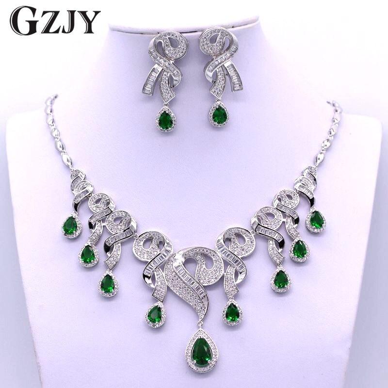 GZJY robe de mariée accessoires ensembles de bijoux couleur or blanc AAA Zircon collier boucle d'oreille ensembles de bijoux pour les femmes