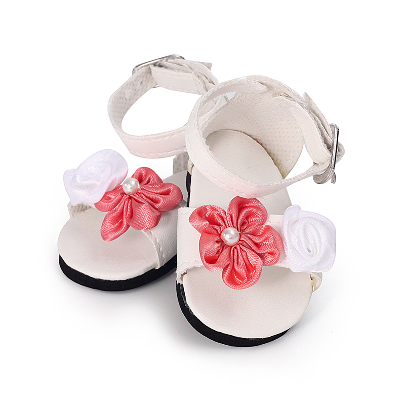New Fashion Baby Doll Shoes 7cm Shoes Leather Shoes With Flower 43cm Dolls Baby New Born And 18