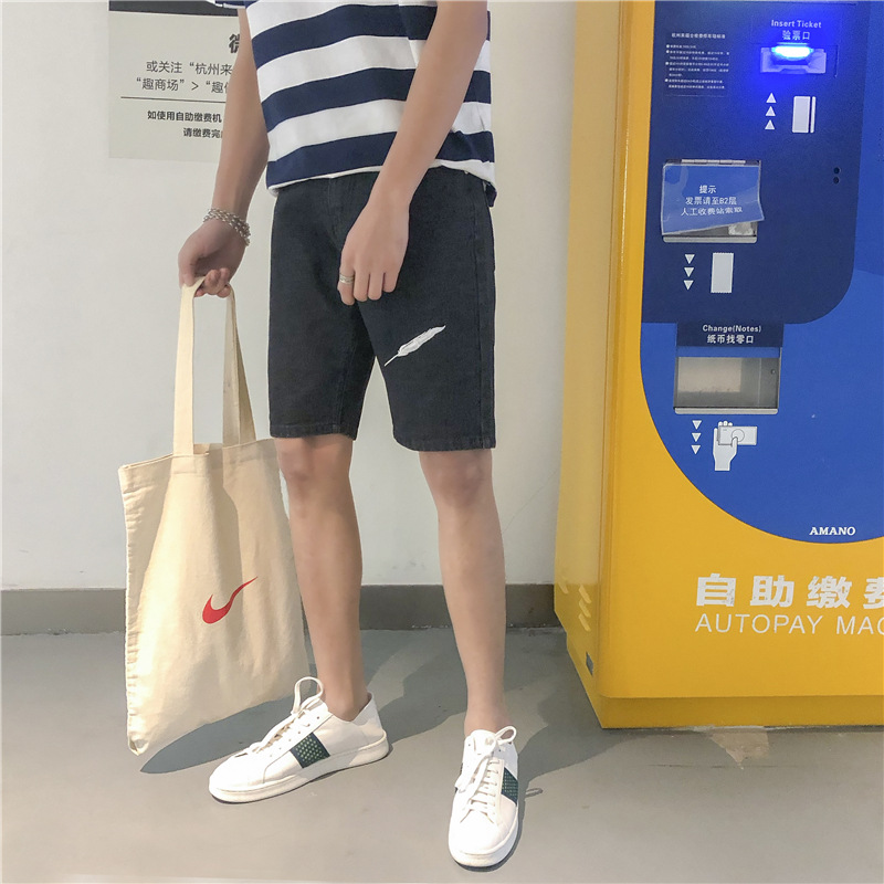 Summer New Style Men Embroidery Jeans Versatile Washing Black And White With Pattern Denim Shorts Pants Shorts Youth