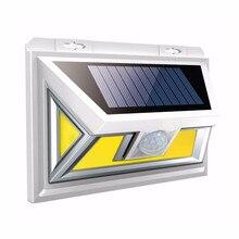 74COB светодиодный светильник на солнечной батарее IP65 Водонепроницаемый PIR светильник с датчиком движения индукционный настенный светильник 270 ° Широкий угол светильник ing открытый садовый светильник