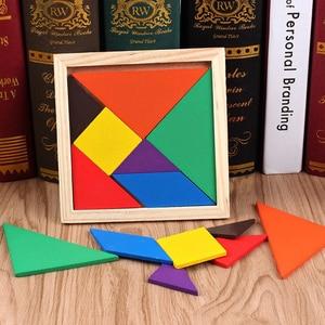 Nowy siedmioczęściowy Puzzle drewniany Tangram mózg gra Tetris Puzzle Bloacks przedszkole dzieci puzzle Tetris szkolenia edukacyjne zabawki