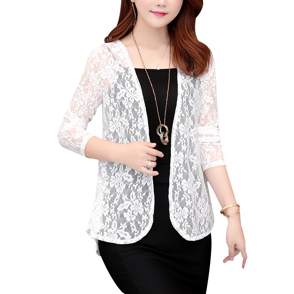 Women Elegant Lace Hollow Tops Coat Ropa Mujer Ladies Spring Fall Fashion Casual Solid Color Cardigan Coat