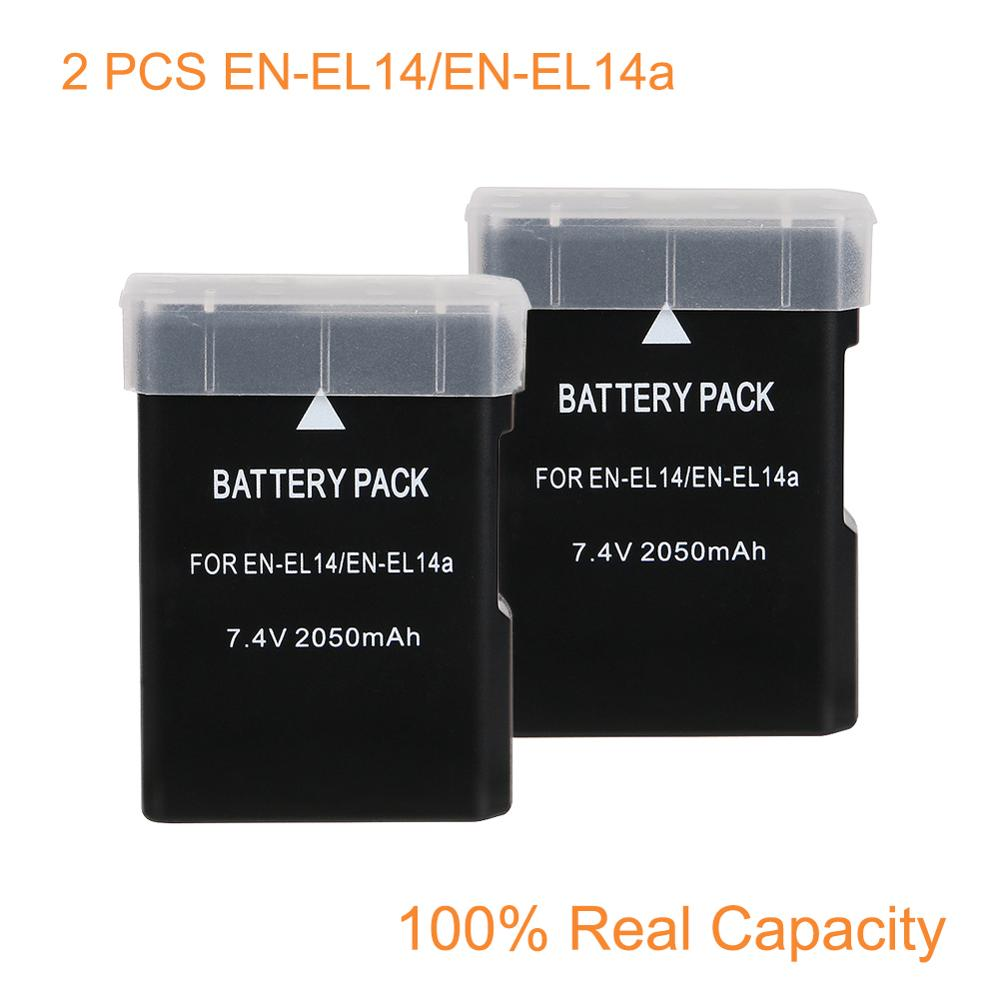OHD 2 Pcs/Lot D'origine EN-EL14 ENEL14 EN EL14 Batterie Pour Appareil Photo Nikon D5200 D3100 D3200 D5100 P7000 P7100