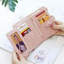 Stylish Women Girls Small Handbag Purse Solid Cute Coin Bag Case Leather Simple Trifold Wallet Clutch Bag